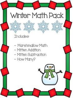 This winter math pack offers a sampling of all of the winter math worksheets available in my TPT storeIncludes:- Marshmallow Math           Marshmallow math is an exciting way to incorporate math into arts and crafts. Have each child choose a number of marshmallows they want in their hot chocolate.