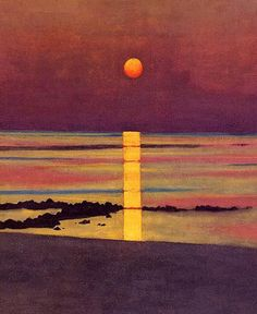 Strawberry Moon ?  Felix Vallotton (1865-1925) was a Swiss painter and printmaker associated with Les Nabis. He was an important figure in the development of the modern woodcut.  During the 1890s, when Vallotton was closely allied with the avant-garde and Les Nabis, his paintings reflected the style of his woodcuts, with flat areas of color, hard edges, and simplification of detail.