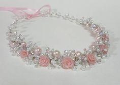 ON SALE Bridal Flower Pearls CrownPink Roses Headpiece