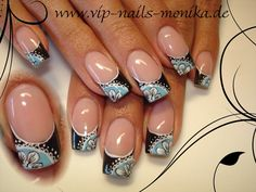 Nails by VIP Nails Monika: Floral lace design. Get a closer look @ http://nailartgallery.nailsmag.com/vipnailsmonika/photo/208269/black-and-blue