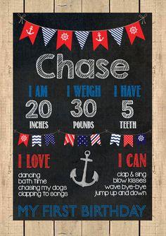 Nautical Birthday Chalkboard Poster // First Birthday Chalkboard on Etsy