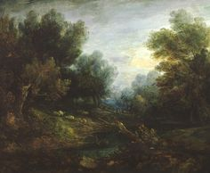 Thomas Gainsborough 'Landscape: Sheep in a Woodland Glade', date not known . Look at those darks. I want to learn how to use in abstracts.