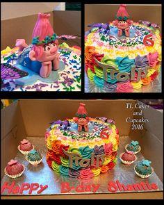 Dreamworks inspired Trolls cake (poppy)