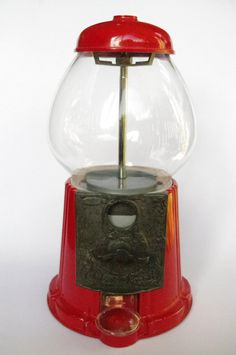Vintage red gumball machine