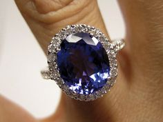 Vintage Estate Retro 4.14ct Oval TANZANITE Diamond Deep AAA Violetish Blue IGI Certified Platinum Ring