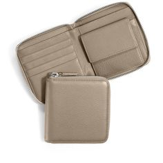 Small Zippered Wallet   Full Grain Leather Ginger Beige