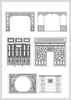 ★【Chinese Screen】-Cad Drawings Download|CAD Blocks|Urban City Design|Architecture Projects|Architecture Details│Landscape Design|See more about AutoCAD, Cad Drawing and Architecture Details