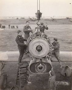 Typhoon Napier Sabre engine change in the field Aircraft Engine, Ww2 Aircraft, Fighter Aircraft, Military Aircraft, Fighter Pilot, Fighter Jets, Hawker Tempest, Hawker Typhoon, South African Air Force