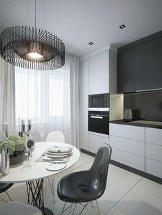 Kitchen Room Design, Kitchen Cabinet Colors, Modern Kitchen Design, Living Room Kitchen, Living Room Modern, Kitchen Interior, Modern Kitchen Cabinets, Kitchen Decor, Scandinavian Interior Design