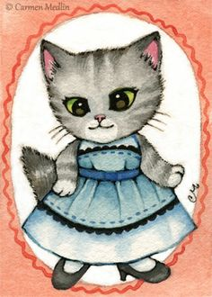 """Grumpy Stripes"" cute 1950s retro Cat art by Carmen Medlin. 5x7"" print, $5.25"