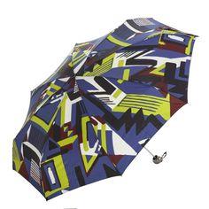 Paraguas originales online. Paraguas Pertegaz mujer geometric azul. Plegable y antiviento sistema windproof. Apertura y cierre manual. Ligero compacto. Alto 21 cm