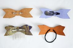 DYI leather/suede bows. would make a cute xmas present!