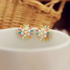 Cheap Wholesale Refreshing Multicolor Maggey Shape and Faux Pearls Embellished Earrings For Women (AS THE PICTURE) At Price 3.18 - DressLily.com