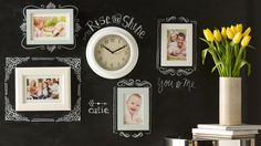 A simple coat of chalkboard paint can turn a bulletin board into a party menu, a plain old nook into an organized office hub, and a dinner party into an unforgettable soirée. Plus, a chalkboard in the home offers a layer of functional charm with a hint of school-days nostalgia. Try these seven simple, brilliant DIYs -- we've even included a quick chalkboard paint tutorial for A  results. Chalkboard Stencils, Chalkboard Paint, Chalkboard Ideas, Chalk Paint, Foam Crafts, Arts And Crafts, Diy Crafts, Chalk Labels, Laser Cut Stencils