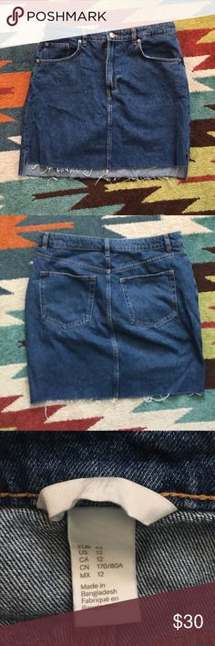 H & M High-Waisted Demin Skirt Worn only once! Great shape and super cute. It's high waisted and not too short. Denim is thick. H&M Skirts Mini