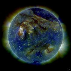 Nasa Solar Dynamic Observatory snapped this multi-wavelength extreme ultrviolet image of the sun, Aug. 2010, solar eruption that blasted particles toward Earth. The Class C3 solar flare triggered stunning aurora displays and geomagnetic storms on Earth that lasted about 12 hours.