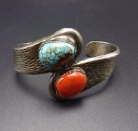 Vintage NAVAJO Cast Sterling Silver CORAL & TURQUOISE Cuff BRACELET