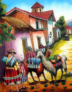 Weight: lbs / 270 g Height: inches / 23 cm Length: inches / 18 cm On this glass painting you can observe a typically day to day momen Mexican Artwork, Mexican Paintings, Mexican Folk Art, Colorful Paintings, Mexican Pictures, Alpacas, Brazil Art, Peruvian Art, Latino Art