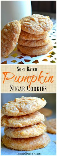 Soft Batch Pumpkin Sugar Cookies - These cookies are a perfect Fall treat! They're so good, you can't have just one! Soft Batch Pumpkin Sugar Cookies - These cookies are a perfect Fall treat! They're so good, you can't have just one! Fall Desserts, Just Desserts, Delicious Desserts, Dessert Recipes, Yummy Food, Thanksgiving Desserts, Pumpkin Sugar Cookies, Pumpkin Dessert, Chocolate Chip Cookies