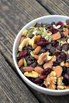 {Paleo Snack Mix} 1 cup walnuts broken into pieces 1 cup almonds 1½ cups sunflower seeds 1½ cups raw pumpkin seeds 1½ cups dried cranberries or mixed berries 2 cups dark chocolate chips