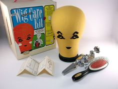 Vintage 68' Wig Care Kit With Box Mannequin Slight Use Has Brush Clamp No Pins. The Mannequin Head Doesn't Have Many Pinholes, So Light…