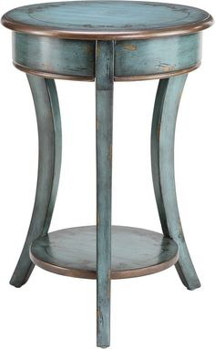 Amazon.com - Round Accent Table with Shelf in Antique Blue Crackle Finish -