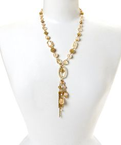Another great find on #zulily! Gold & White Beaded Pendant Necklace by Treska #zulilyfinds