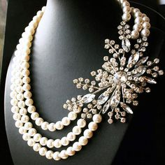 Vintage Bridal Statement Necklace Rhinestone by luxedeluxe on Etsy, $188.00