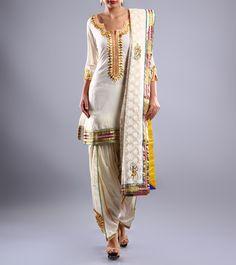 Cream Cotton Patiala Salwar Kameez With Gota Patti