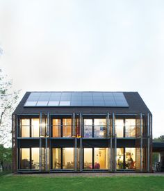 #architecture With the roof angled at 43 degrees, the architects lined the southern slant of the house with solar panels to collect as many rays as possible.