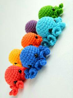Crochet octopus set 7 rainbow baby toys. Crochet jellyfish amigurumi. Crocheted tiny octopus for montessori materials. Crocheted Jellyfish, Crochet Octopus, Fiddle Toys, Tiny Octopus, Crochet Ball, Montessori Materials, Rainbow Baby, Shop Ideas, Educational Toys