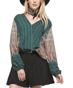 Another great find on #zulily! Mocha Paisley Surplice Top #zulilyfinds