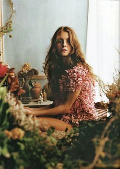 undone hair and florals
