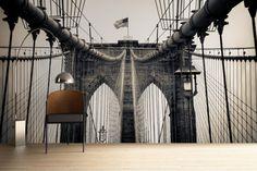 Sepia Brooklyn Bridge View Mural