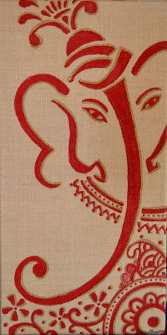 spray paint canvas gold, cut out simple shapes, glue on canvas, spray paint red Ganesha Tattoo, Ganesha Art, Shri Ganesh, Lord Ganesha, Ganesha Painting, Buddha Painting, India Art, Elephant Art, Art N Craft
