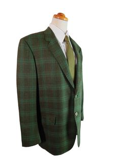 1960s Green Plaid Hopsack Sport Coat by WALTER MORTON for Capper & Capper.