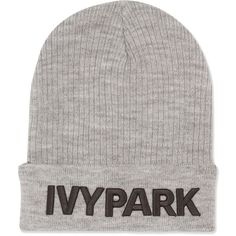 Ribbed Logo Beanie Hat by Ivy Park ($20) ❤ liked on Polyvore featuring accessories, hats, light grey m, embroidered hats, beanie hat, logo beanie, sport hats and embroidery hats