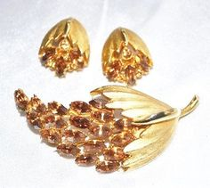 BSK Brooch and Matching Earrings Amber by LustfulJewels on Etsy