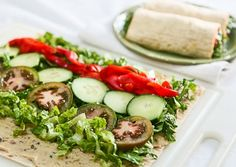 Wrap Recipes, Vegan Recipes Easy, Lunch Recipes, Whole Food Recipes, Vegetarian Recipes, Lavash Wrap Recipe, Hummus Wrap, Lunch Wraps, Vegan Wraps