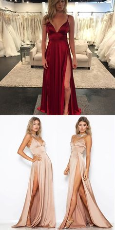 Sexy Wine Red V Neck Prom Dress,Empire Formal Gown,Evening Dress With High Slit by Miss Zhu Bridal, $130.32 USD
