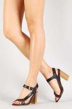Qupid Leatherette Slingback Sandal Chunky Heel