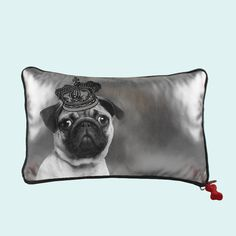 """Royals"" - Silver Rectangle Pillow - Pug"