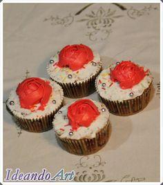 Cupcakes de zanahoria decorados con rosas de crema by IdeandoArt