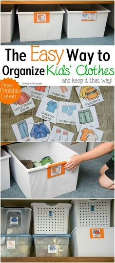 Say good-bye to messy disorganized drawers and piles of clothes in your child's room with this super easy method for organizing kids clothes. Check out the details & download your free printable labels here: