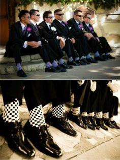 Mod Glamorous Wedding- The Groomsmen Purple Boutons and Checkered Socks