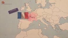 Notre tour du monde Virtuel - La France. Situer la France sur la mappemonde géante. #homeschool #escargotetcoquille