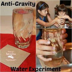 Mom to 2 Posh Lil Divas: Simple Anti-Gravity Water Experiment for Kids Science Week, Mad Science, Preschool Science, Elementary Science, Science Fair, Teaching Science, Science For Kids, Earth Science, Preschool Classroom