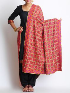 Buy Fuschia Orange Crepe Phulkari Dupatta Accessories Dupattas The Spirit of Punjab Embroidered Apparels and Decor Accents Online at Jaypore.com