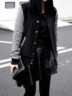 Black varsity jacket #style #fashion #rebel #punk #edgy