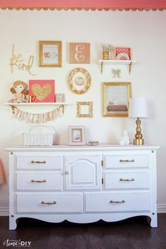 Tips and tricks to decorate a gallery wall, perfect for a girls room or nursery!